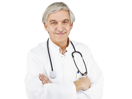 optional: Doctor optional front of white background Stock Photo