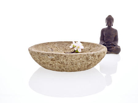Buddha with bowl and blossom apple photo