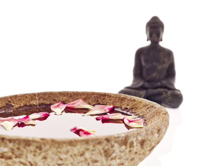 Buddha with bowl and pink petals photo