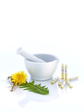 globules: white mortar with book glass tubes and dandelion Stock Photo