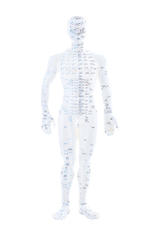 meridian: TCM and acupuncture points on a white figure Stock Photo
