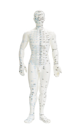 TCM and acupuncture points on a white figure Stockfoto