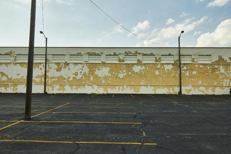 shrinking: mpty parking lot in settlement Detroit Michigan USA