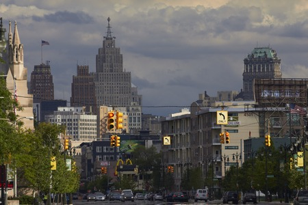 shrinking: Detroit USA Woodward Avenue in Downtown