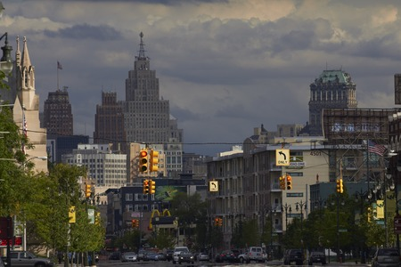 shrinking: Detroit USA overlooking Woodward Avenue in Downtown Editorial