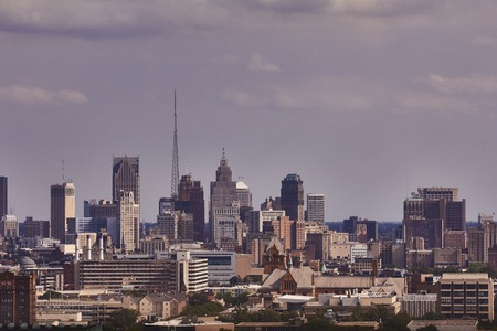 shrinking: View from the Fisher Building in Detroit Skyline USA