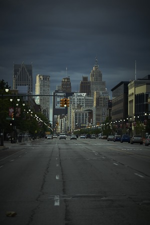 Detroit USA overlooking Woodward Avenue in Downtown at night Editorial
