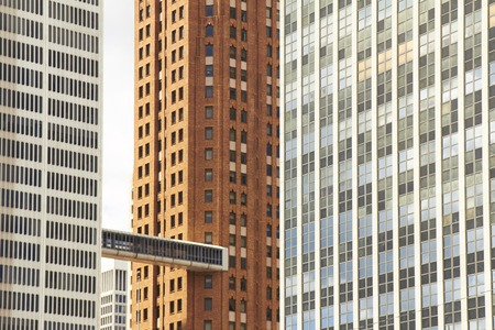 shrinking: Detroit USA in Downtown with ancient skyscrapers in detail