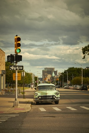 shrinking: Oldtimer overlooking Woodward Avenue in downtown Detroit USA