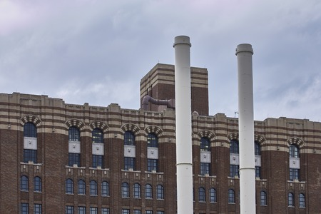 shrinking: old factory om detail in Detroit Downtown USA