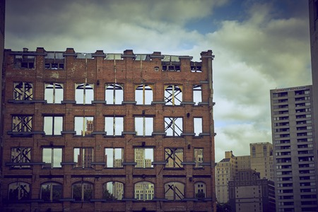 shrinking: View at Ruin with clouds in Downtown Detroit USA