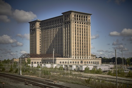 shrinking: Station Michigan Central Station in Detroit USA Editorial