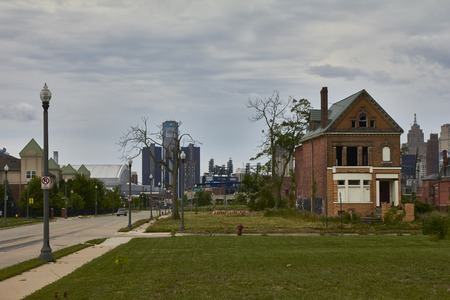 shrinking: Detroit USA View of Downtown with GM building