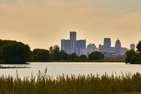 shrinking: View from Belle Isle on the Detroit River in Detroit Skyline USA