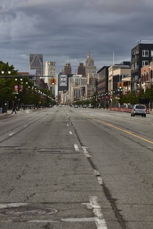 shrinking: View at Woodward Avenue in downtown Detroit USA Editorial