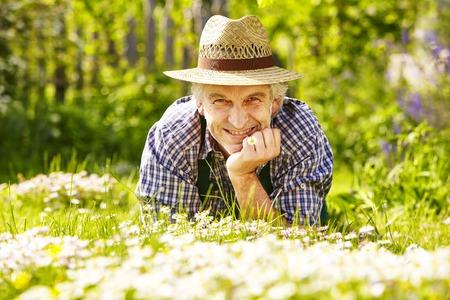 daisys: Gardener lying in a flower meadow of daisys