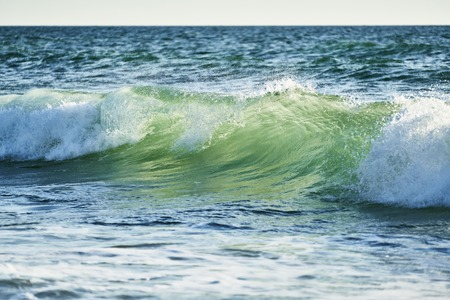 Wave breaking and foam white with sea