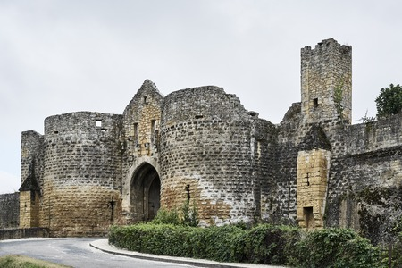Entrance with street and loopholes with door at a castle with round arch made of stone and a hedge green