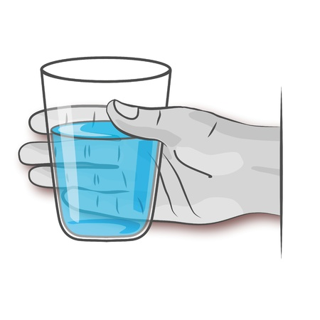 Hand holding glass of water Vector