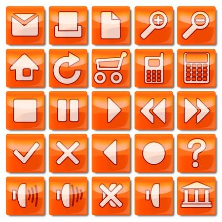 Icons-Orange-01-25 Stock Photo