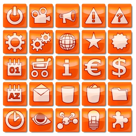 Icons-orange 51-75 Stock Photo - 13544109