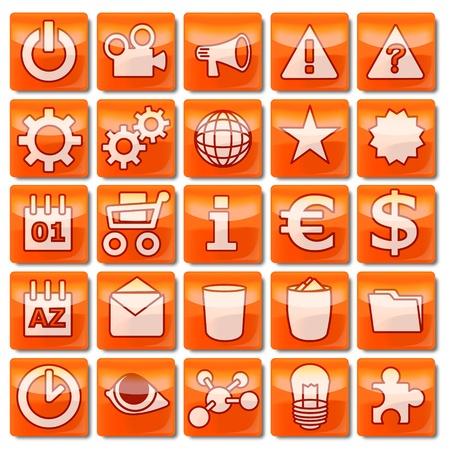 Icons-orange 51-75 Stock Photo - 13544109