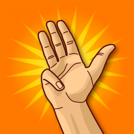Hand with the Number Three Vector