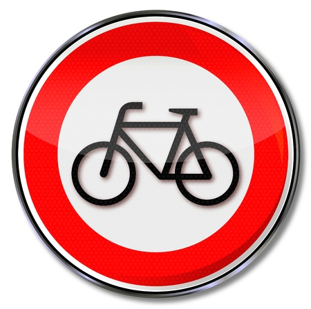 Cycling traffic sign prohibited Vector