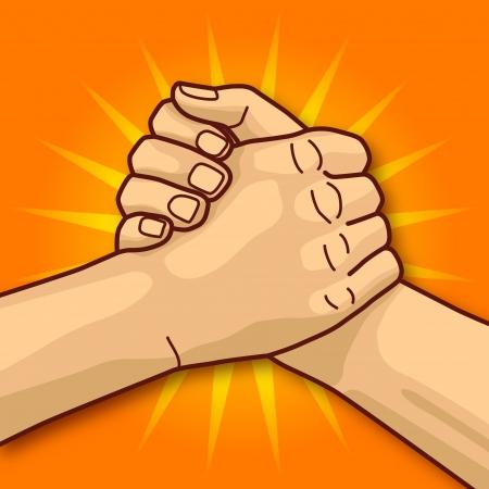 Les mains et les bras de lutte