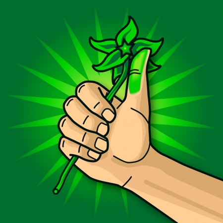 green thumb: Hand with green thumb