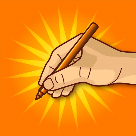 sign contract: Hand to sign a contract Illustration