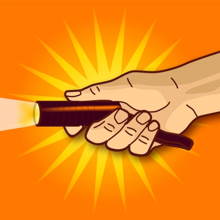 Hand and a flashlight Illustration