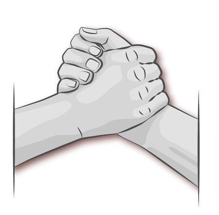 amistad: Las manos y el brazo de lucha libre