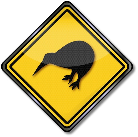 Traffic sign with bird Vector