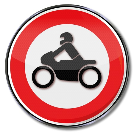 motorcyclist: Motorcycle road sign prohibiting