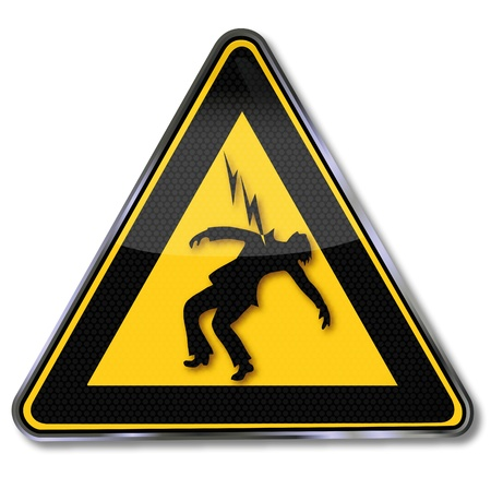 high voltage sign: Caution High Voltage plate Illustration