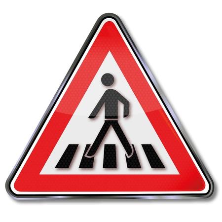 passage pi�ton: Passage pour pi�tons d'avertissement de trafic signe Illustration