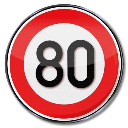 slow down: Traffic sign 80 kmh