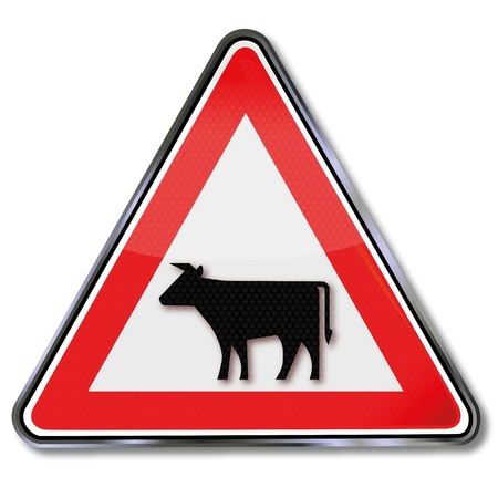 fcc: Traffic sign with cow