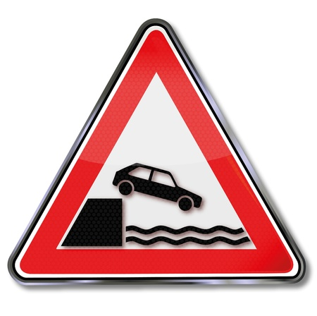Traffic sign Warning shore Vector