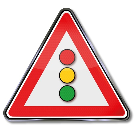slow down: Warning road sign lights