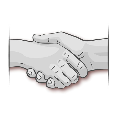 three hands: Hand greeting and friendship