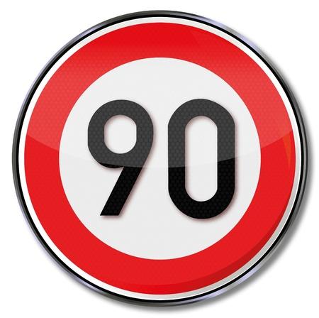 speeder: Traffic sign 90 kmh Illustration