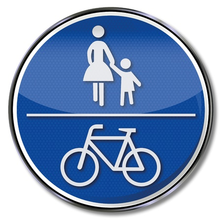 Bicycle and pedestrian traffic sign Vector