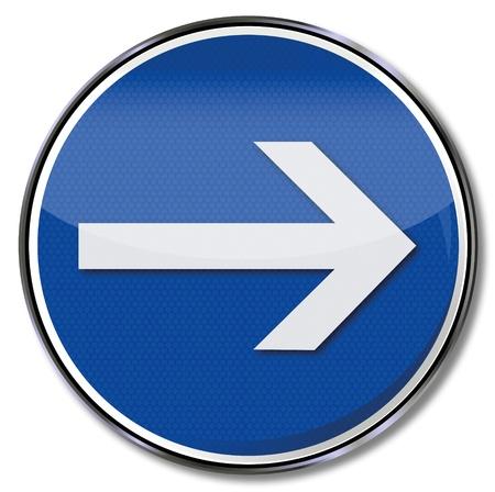 flecha derecha: La señal de tráfico con la flecha apuntando hacia la derecha Vectores