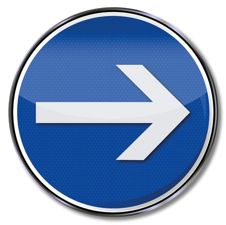 right arrow: Road sign with arrow pointing right
