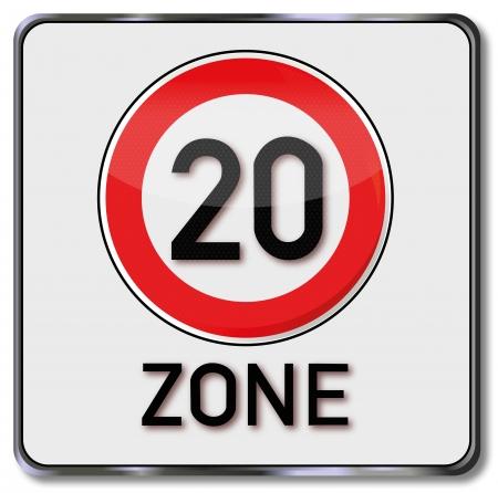 speeder: Traffic sign 20 kmh zone Illustration