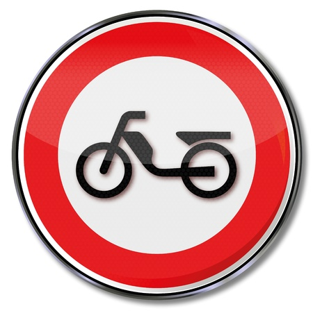 Moped and motorcycle traffic sign prohibiting Vector