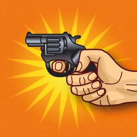 Hand and revolver Illustration