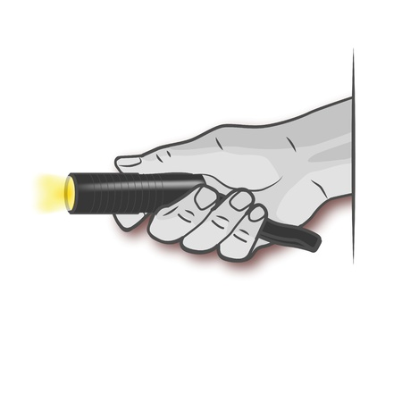 Hand and a flashlight Vector